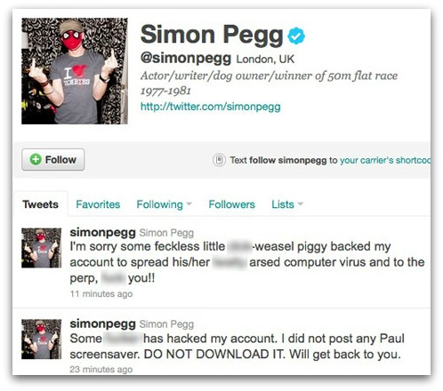 Tweets from Simon Pegg warning fans