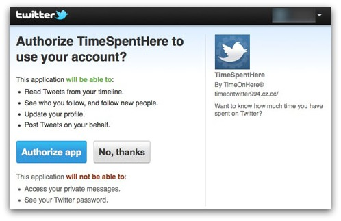 Authorise TimeSpentHere rogue Twitter app