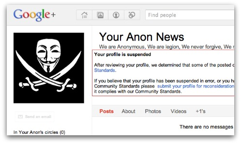 Anonymous suspended on Google+. Click for larger version