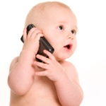 Baby talking on mobile phone