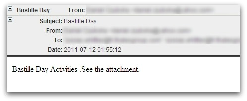 Bastille Day malicious email