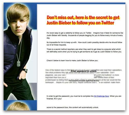 Justin Bieber Twitter scam landing page