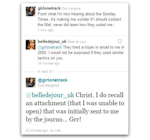 Tweets from Zoe Margolis and Belle de Jour