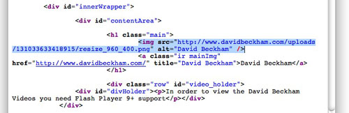 David Beckham hacked website code