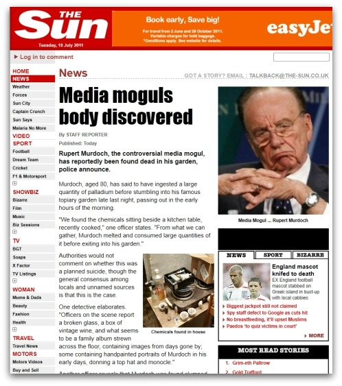 Fake news story claiming that Rupert Murdoch is dead