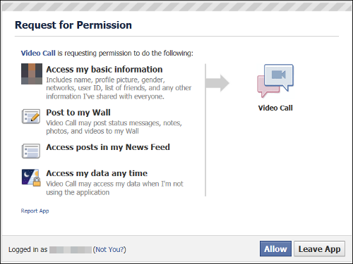 Facebook fake video call permissions