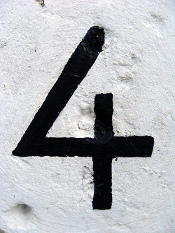 Creative Commons photo of house number 4 courtesy of kirstyhall's Flickr photostream