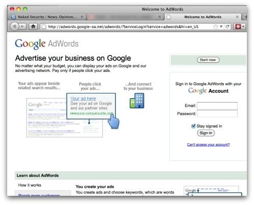 Google AdWords phishing site