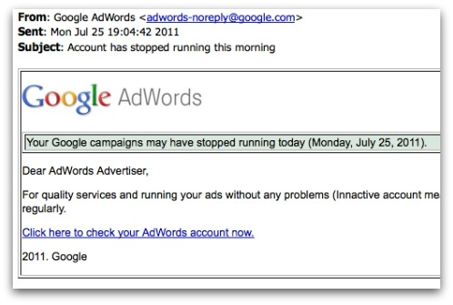 Google AdWords phishing email. Click for larger version