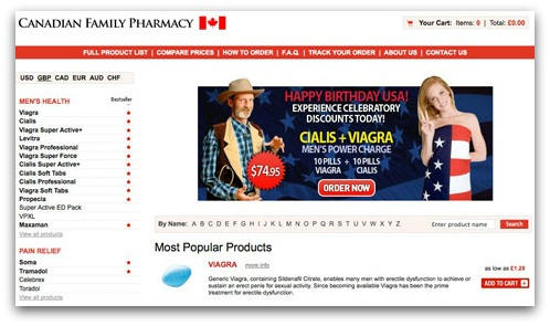 One of the pharmacy websites promoted by the spam messages
