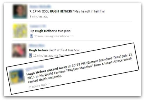 Hugh Hefner RIP on Facebook