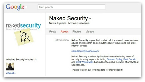 Naked Security on Google Plus
