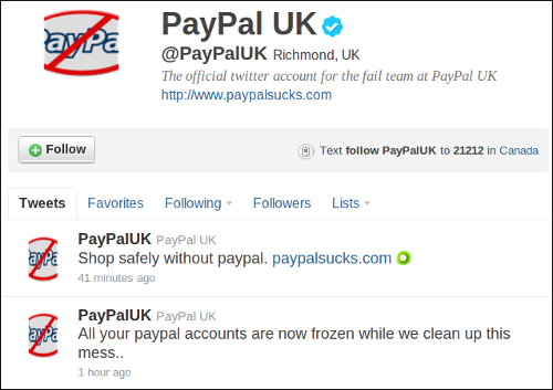 PayPal UK hacked tweets