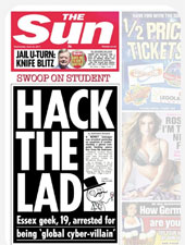 The Sun's report on the arrest of Ryan Cleary