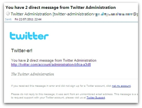 Spam pretending to be from Twitter