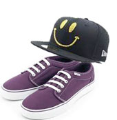 Vans and smiley hat