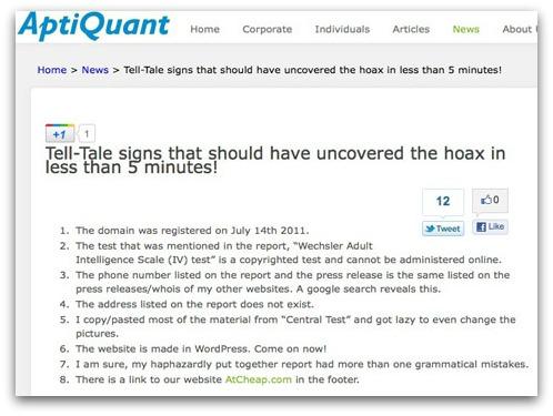 AptiQuant admits it's a hoax