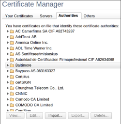 Chrome's certificate manager