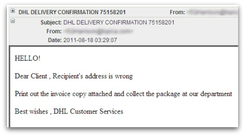 Malicious DHL email