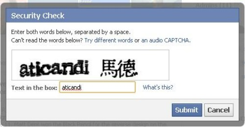 Facebook CAPTCHA fail