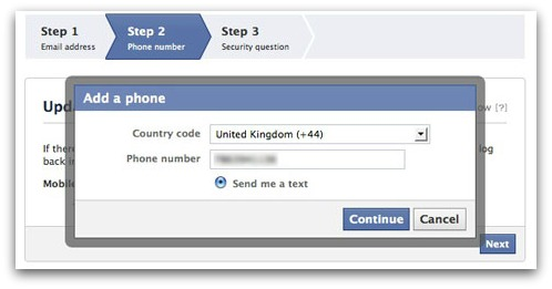 Facebook add mobile phone