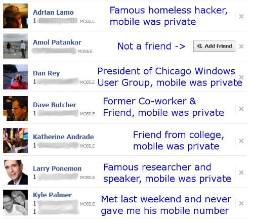 David's Facebook contacts