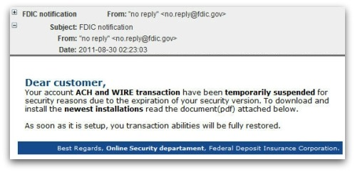Malicious FDIC notification email