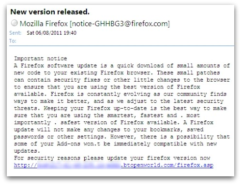 Fake Firefox update email