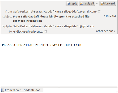 Spam from Mrs. Gaddafi