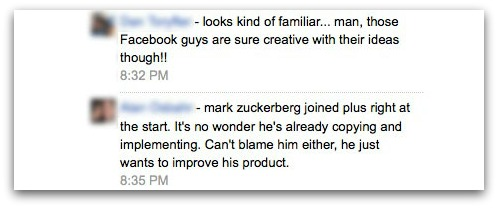 Google+ users comment on Facebook privacy settings