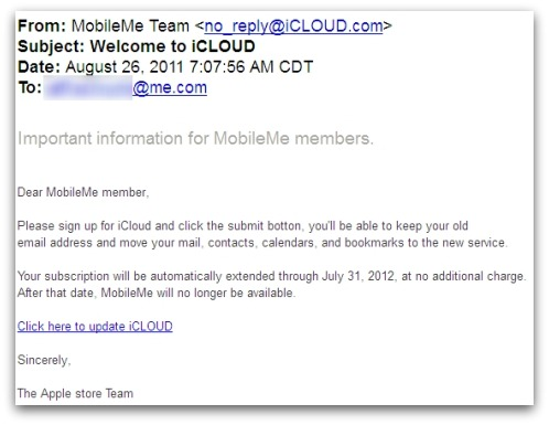 iCloud phishing email