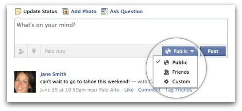 Facebook status update privacy control