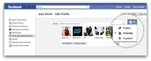 Facebook inline profile controls