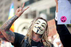 Guy Fawkes mask protester