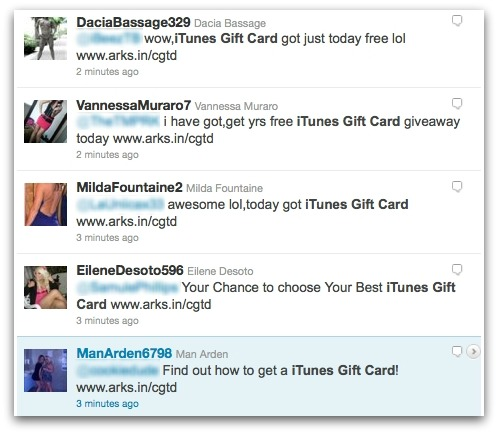 iTunes gift card spam tweets
