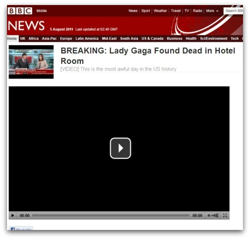 Fake BBC website