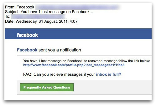 You have one lost message on Facebook