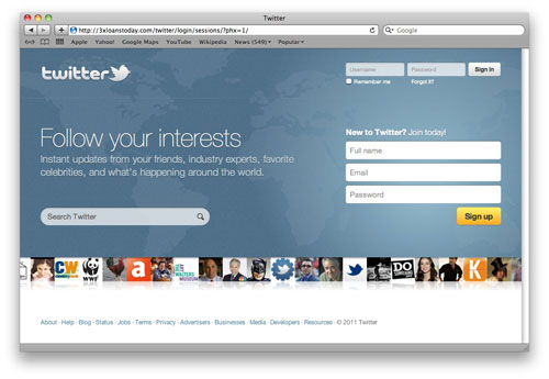 Twitter phishing site