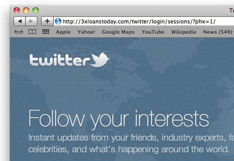 Twitter phishing site URL