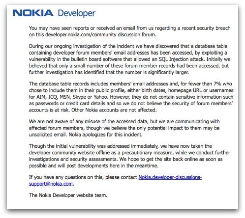 Nokia warns developers