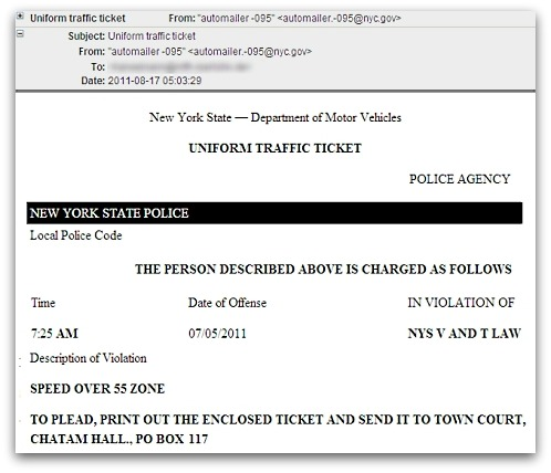 Malicious traffic ticket email