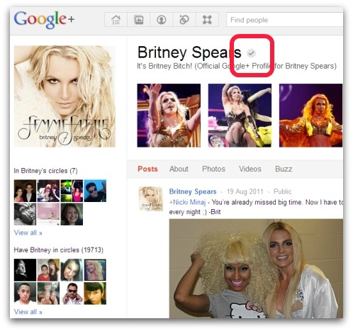 Official Britney Spears Google+ account