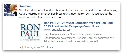 Ron Paul statement on Facebook