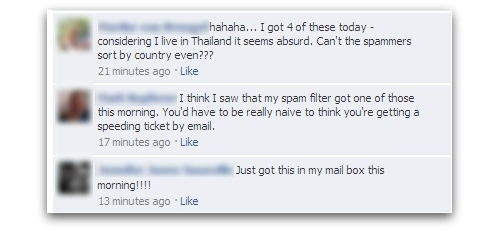 Facebook messages regarding malware attack