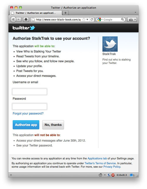Twitter stalkers phishing website