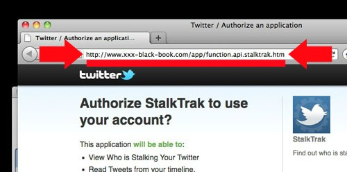 Twitter stalkers phishing website url