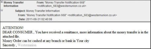 Western Union malicious email