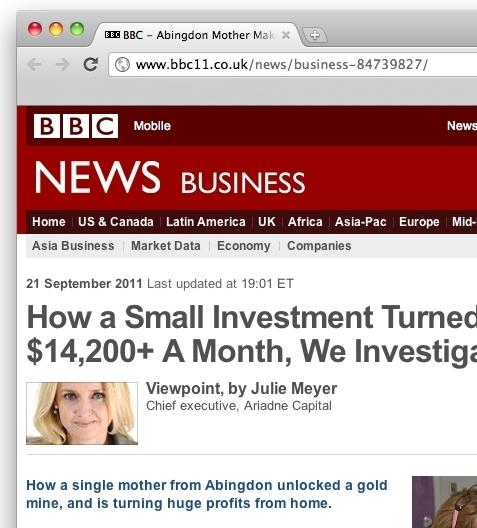 Closeup of fake BBC website