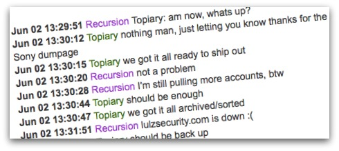 Chat log between LulzSec members Topiary and Recursion