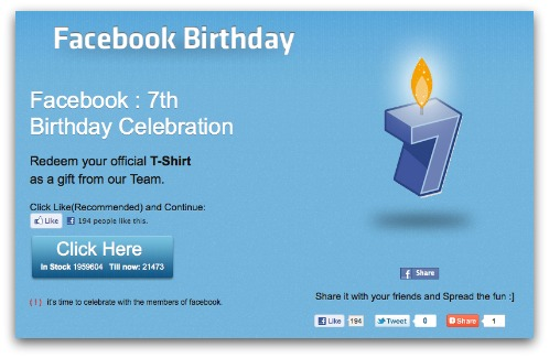 Facebook birthday t-shirt scam